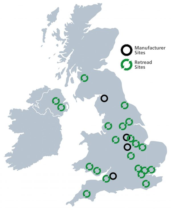 UK Manufacturer & Retread Map